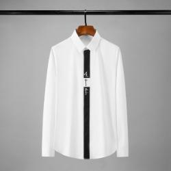 112144 앞띠 레터링 자수 히든버튼 슬림 긴팔셔츠(2color)