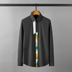 112135 플라워 앞띠 절개 배색 히든 긴팔셔츠(2color)