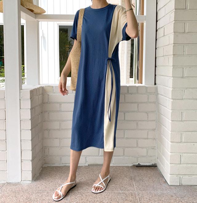 配色拼接側腰綁帶長洋裝