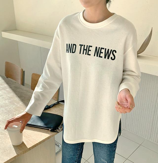 配色印字開衩襬圓領T恤