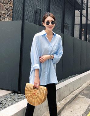 柔順質感單口袋長版襯衫