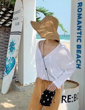 夏日風情純色編織漁夫帽
