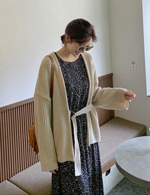 腰釦帶造型開襟針織外套
