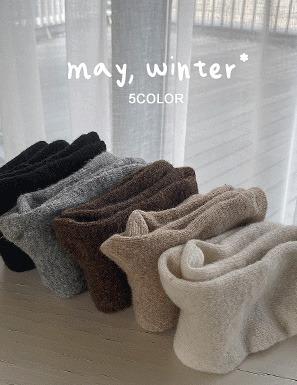 基本款素色混羊毛中筒襪