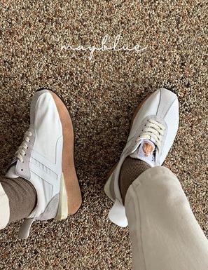 配色拼接縫線綁帶休閒鞋