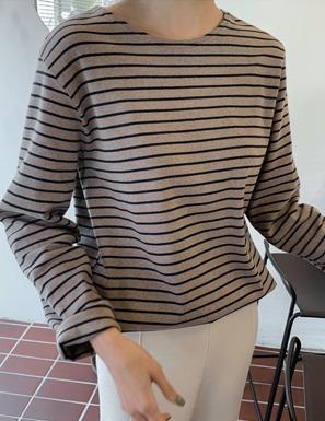 磨毛側開衩配色條紋T恤