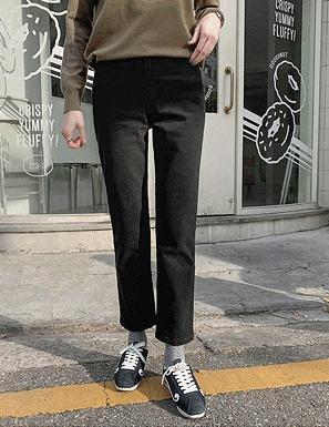 素色高棉量內刷毛直筒長褲