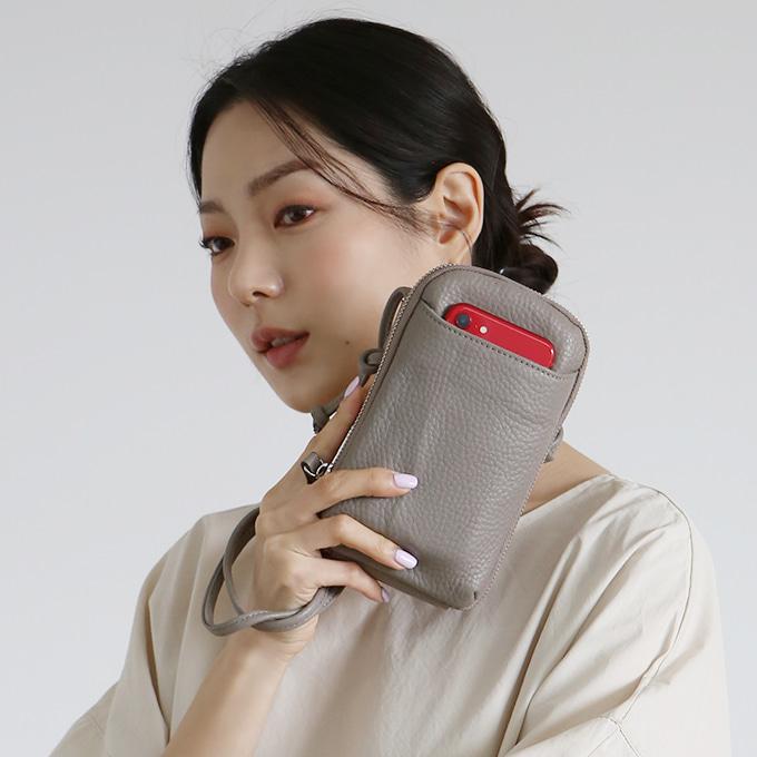 롤린 심플 포켓 크로스백 [4color/소가죽/핸드폰가방]