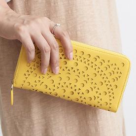 [지퍼/장지갑]에스닉 펀칭 포인트 장지갑