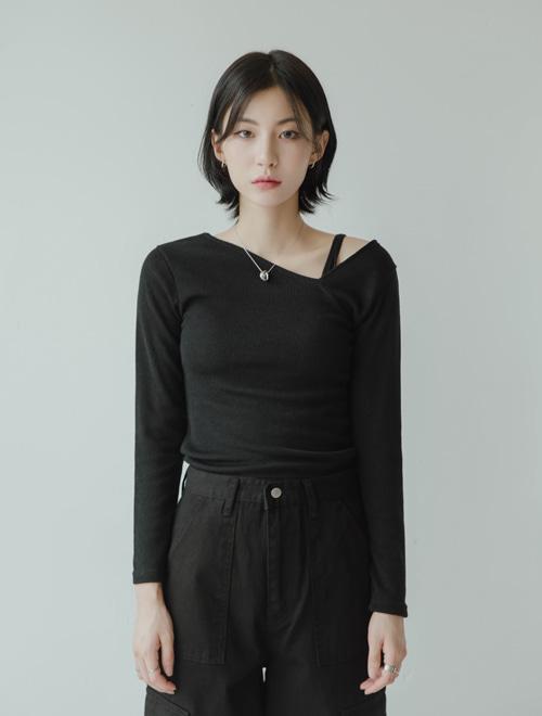 シアードアンバランスネックTシャツ (t0219)