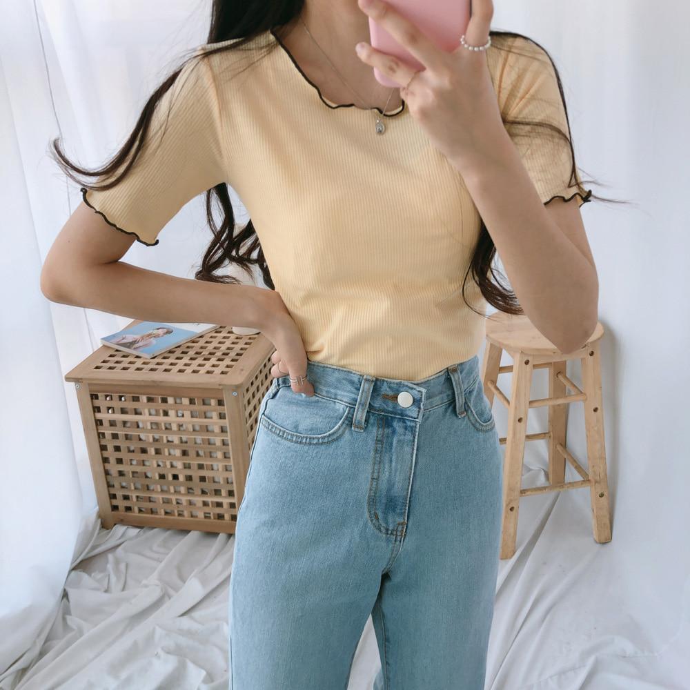 ウェーブラウンドスリムTシャツ (t1003)