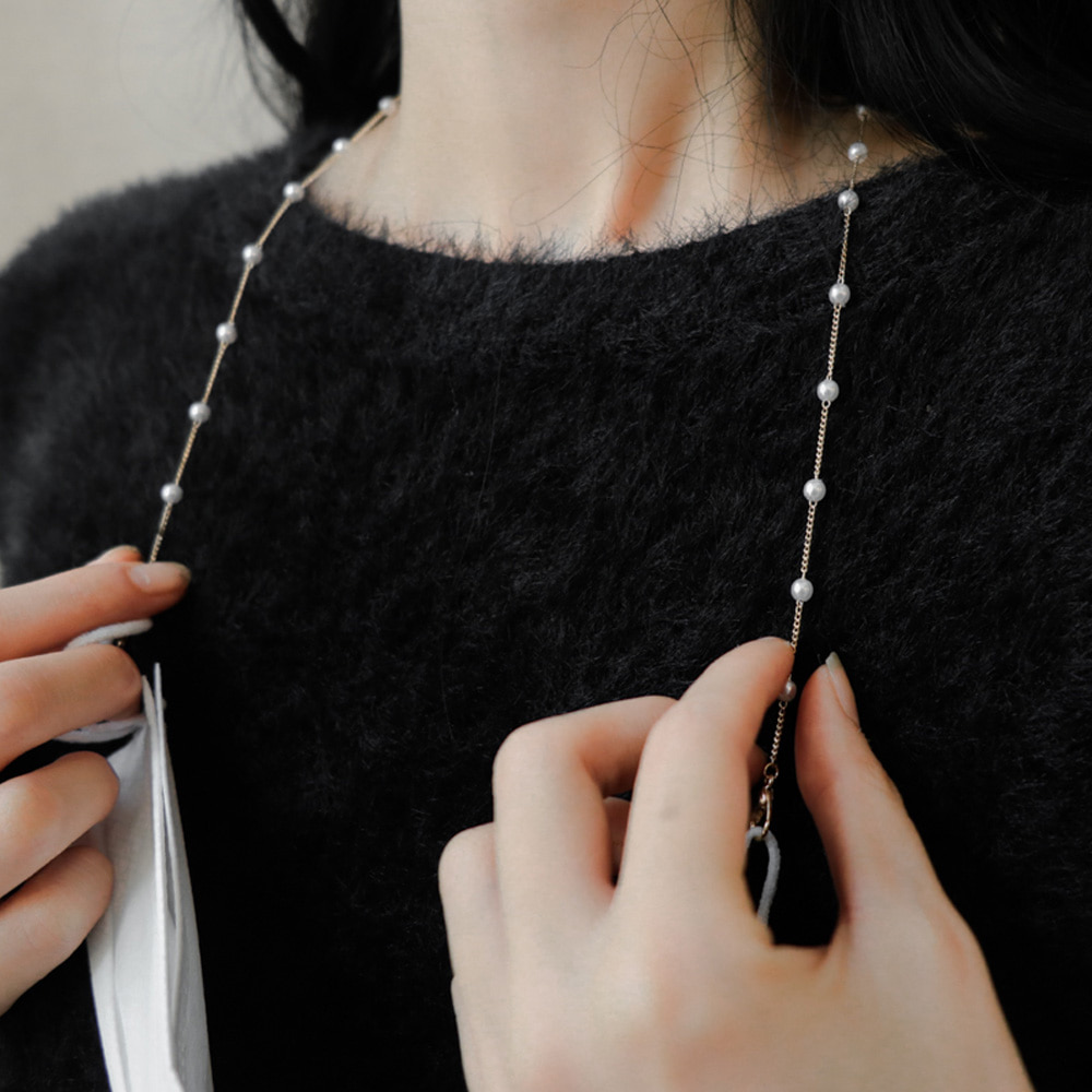 pearl chain mask strap necklace