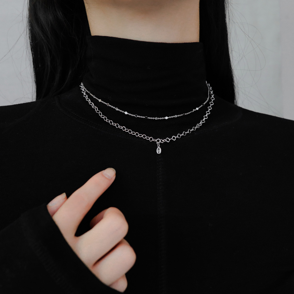 1053 mini cubic layered necklace