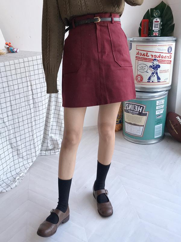 コットン BIG ポケットベルトスカート (sk1362)