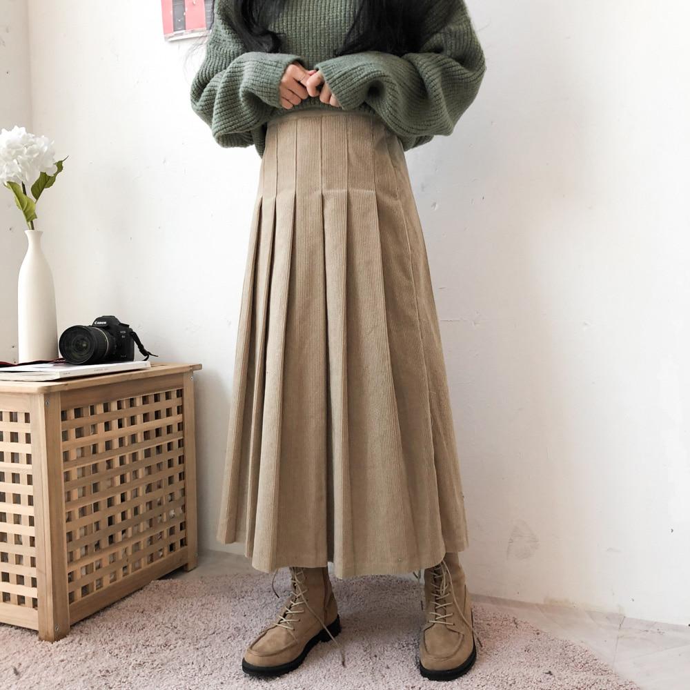 ゴールデンレトロプリーツロングスカート (sk0897)