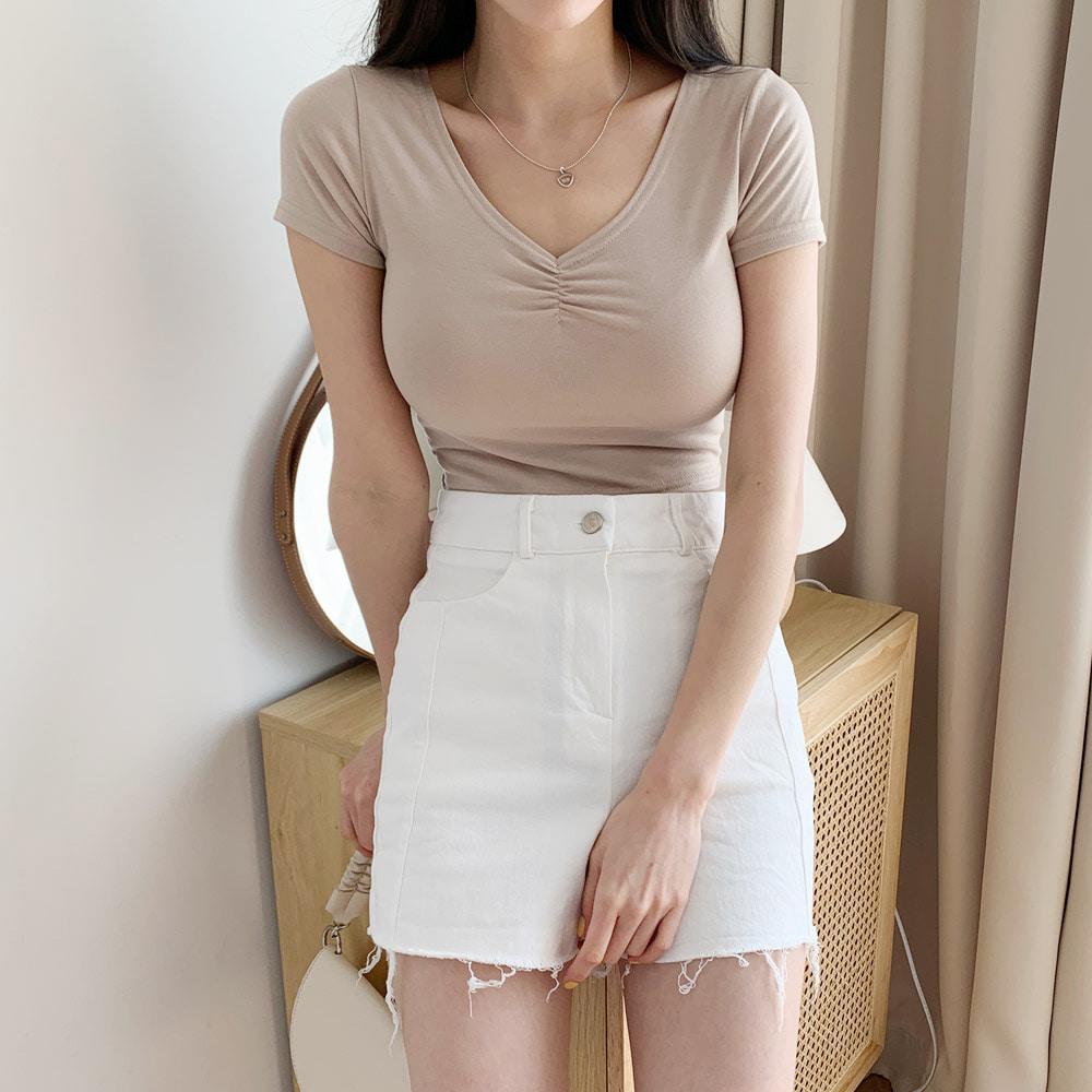 シャーリングVネック半袖Tシャツ (t1749)