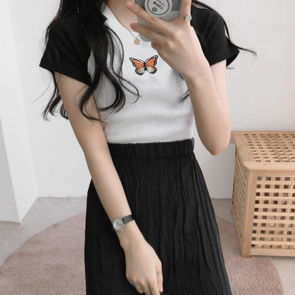 蝶クロップ半袖Tシャツ (t1696)