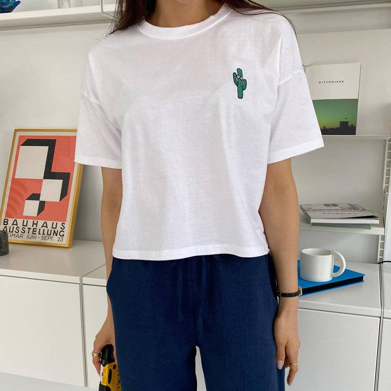 サボテンクロップ半袖Tシャツ (t1745)