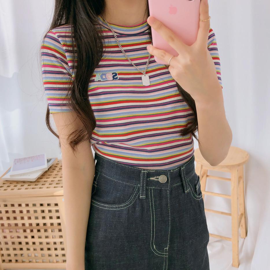 ソーダストライプスリムTシャツ (t0832)