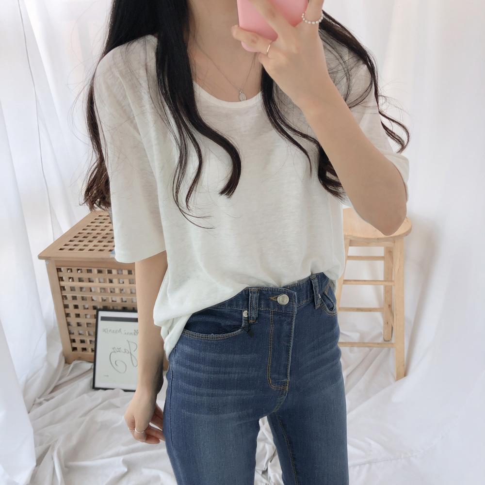 リネンUネック半袖Tシャツ (t1065)