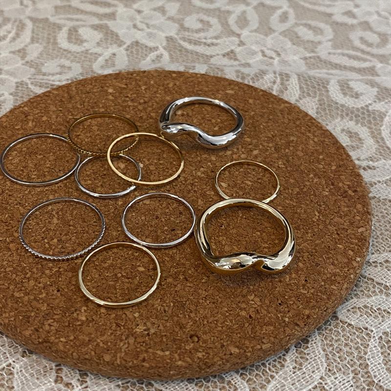 wavy simple 5 ring set