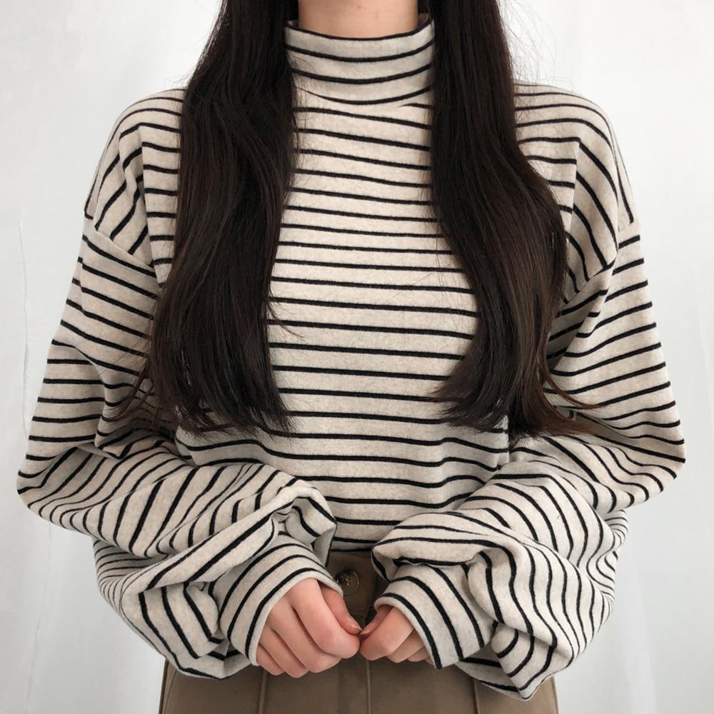 パフスリーブボーダーTシャツ (t1354)